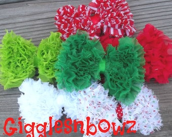 CHRiSTMaS CoLLeCTiON- Set of SIX Shabby Frayed Chiffon GRASS TRiM BoWS- 4 inch