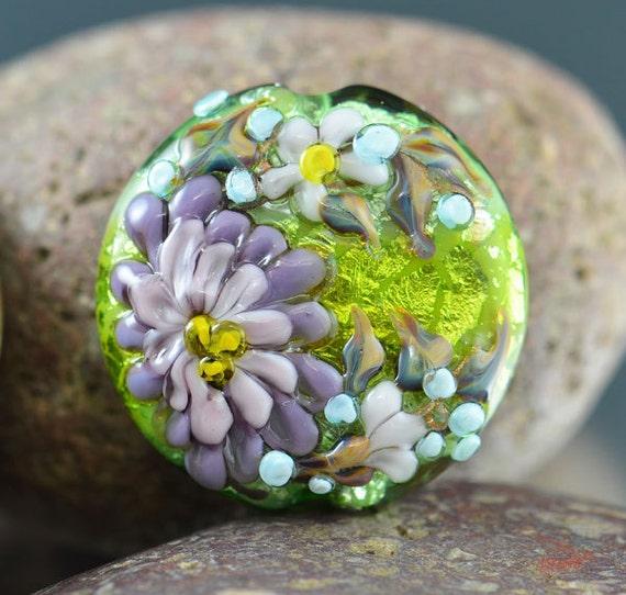 PURPLE DAISY - SRA Handmade Lampwork Glass Bead Lentil Focal - lavender lilac peridot green fine silver foil - raised glass flowers