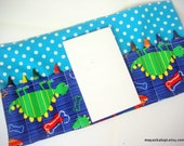 Mini Crayon Wallet - Dino Dudes in Blue - Toddler gift.party favor - Crayons and Pad NOT INCLUDED