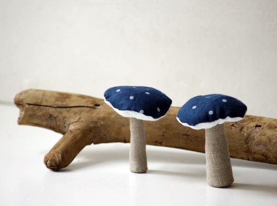 A set of 2 linen mushrooms . Holiday ornaments. Ready to ship