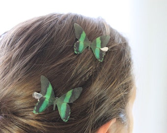 1 Pair Emerald City Black & Green Silk Butterfly Hairclips