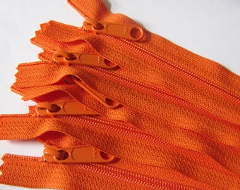 SALE - Five bright orange 12 inch YKK Handbag zippers with extra long pull - YKK flame color 849