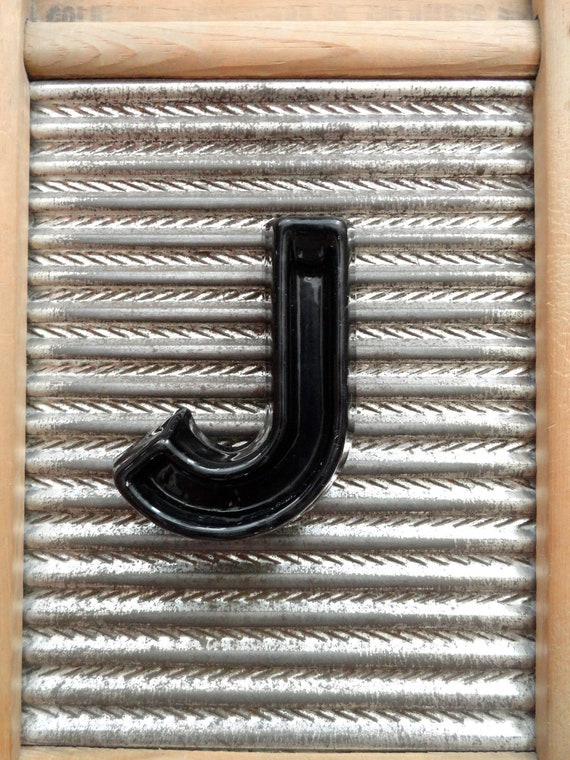 """Vintage Industrial Marquee Letter """"J"""" Movie Theater Black Plastic 4"""" Sign"""