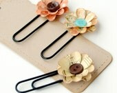 3 Handmade FLORAL PAPER CLIPS - Bookmarks, Office Clips, or Scrapbook Embellishment