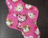 Mama Cloth Reusable Sanitary Menstrual Pad pink cats kitties felines - size SMALL to MEDIUM