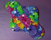 Menstrual Pad Mama Pad Mama Cloth Reusable Sanitary Pad multi coloured cats kitties felines - size SMALL to MED