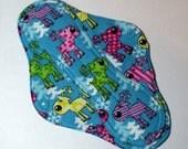 Menstrual Pad Mama Pad Mama Cloth Reusable Sanitary Pad turquoise pink purple yellow reindeer holiday print - size L/L Plus