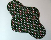 Menstrual Pad Mama Cloth Mama Pad Reusable Sanitary Pad with PUL lining black and red penguins on green - size S/M  SALE