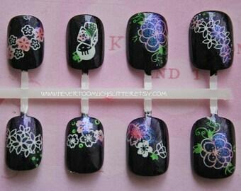 Kawaii Fake Nails-Sakura- False Press On Nails, Short Fake Nails-Japanese Nail Art-Kimono Sakura- Cute Japanese Nail Art-Acrylic Fake Nails