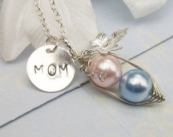 Personalized Peas in a Pod Hand Stamped Silver Necklace Pendant - Choose Your Initials or Pearl Colors. Great Gift.