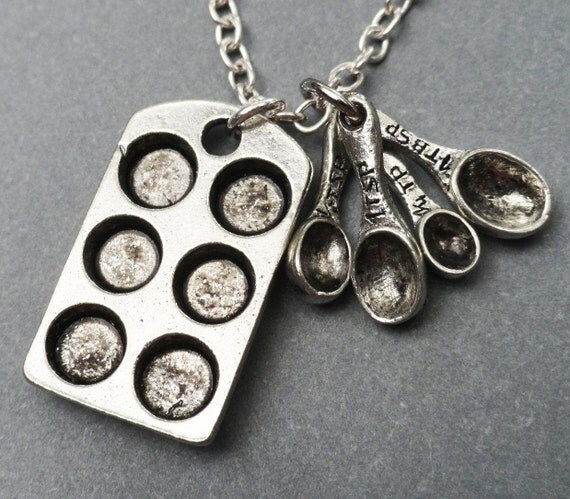 Gourmet Chef Charm Necklace Measuring Spoons And Muffin Pan Chef, Cook, Baker Special Friend Lovely Gift