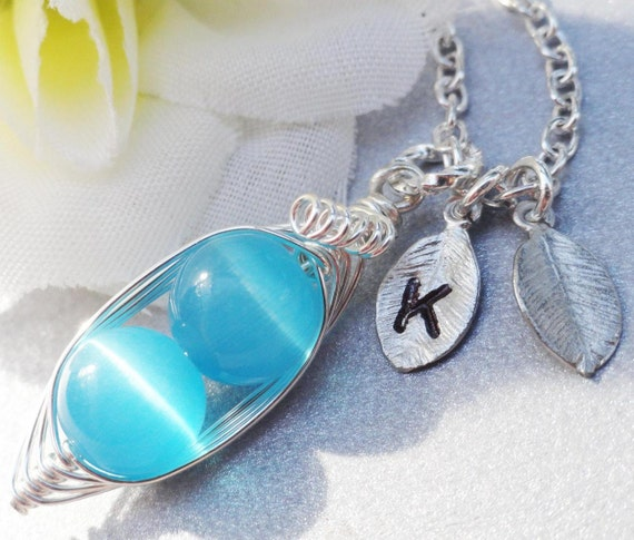 ALL NEW - Sweet Peas in a Pod Blue Beads - Perfect Gift for Mom, Grandma, Sister,Twins or BFF - Stamped or Plain Leaves