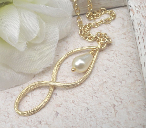 Gold Infinity Pendant Necklace Wire Wrapped White Teardrop Pearl. Ideal Gift Best Friend Necklace