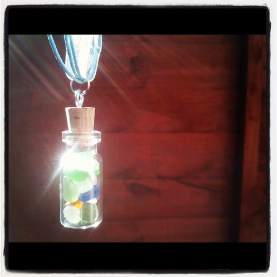 Irish Sea Glass - Glass Vial Pendant - Necklace