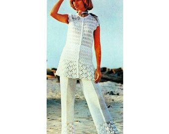 INSTANT DOWNLOAD PDF Vintage Crochet Pattern    Trouser Suit  Tunic Beach Cover Up   Retro