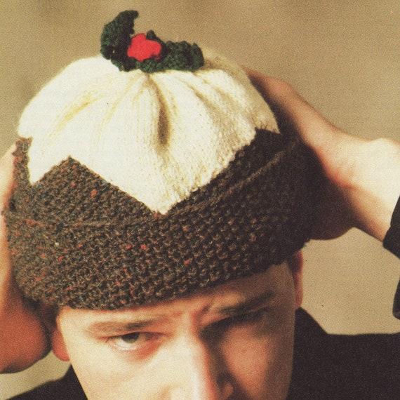 Knitting Pattern Xmas Pudding Hat : Vintage Knitting Pattern Christmas Pudding Hat Beanie Retro