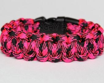 SLIM Paracord Survival Bracelet Cobra - Rosa Noche - Neon Pink Black