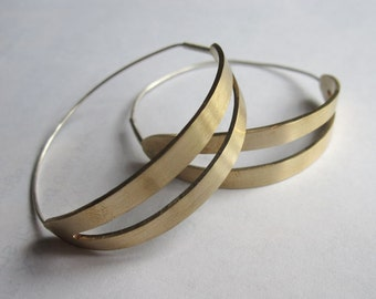 Handmade Gold Colored Brass Hoop Earrings with Sterling Silver Ear Wire with Center Cut-Out 0028
