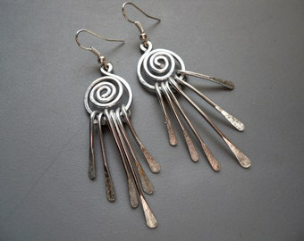 Hammered Burnished Gold or Silver Tone Anodized Aluminum Swirl Tassel Wind Chime Earrings Long Bold Tribal Modernist