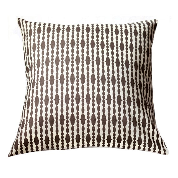Organic Pillow Cover - Raindrops Chocolate