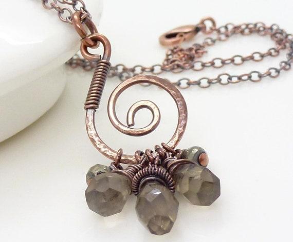 Brown smoky quartz necklace, copper necklace, autumn fall jewelry, copper jewelry