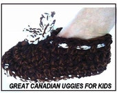 INSTANT DOWNLOAD Crochet Pattern PDF 59a Great Canadian Uggies Slippers for Kids-sizes included: age 2 to women's small