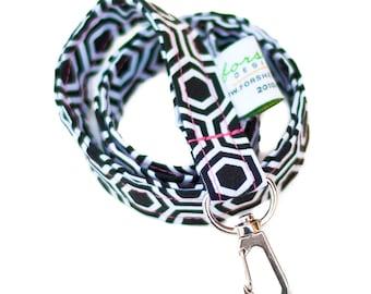 Id Badge Holder Key Holder Teacher Gift Badge Lanyard Fabric Lanyards Neck Lanyard Cute Lanyard Key Fob Fabric Lanyard Teacher Lanyard Black