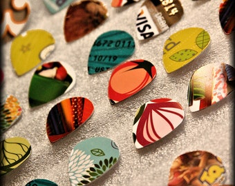 Hand-Cut-Jazz & Standard Size-Guitar-Picks-Upcycled-Giftcard-By TPowers