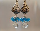 Aquamarine, Apatite and Sterling Silver Dangle Earrings