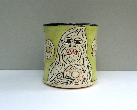 Sasquatch Mug, Green, With Bigfoot Yeti And Doughnut. Very Squatchy Coffee Cup