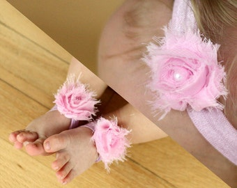 BOGO Pink Baby Barefoot Sandals and Headband Sale