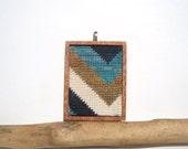 Needlepoint Summer's End Bold Striped Chevron Mahogany Based Necklace Pendant