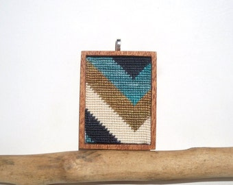 Needlepoint Summer's End Bold Striped Chevron Mahogany Based Necklace Pendant