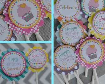 Mod Cupcake Birthday Party Cupcake Toppers Fully Assembled Decorations