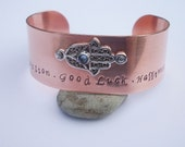 Hamsa - Hand Stamped One Inch Copper Cuff Bracelet - Protection, Good Luck, Happiness - Riveted