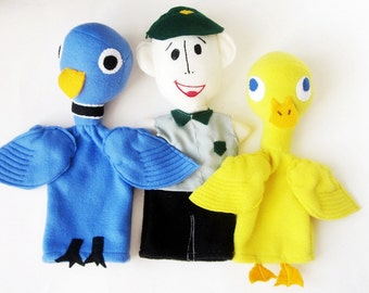 Pigeon (Drive the Bus), Duck, Bus Driver Trio Hand Puppets/ Story Book Character Puppets