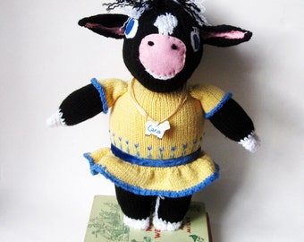 Cow Knit Stuffed Animal Toy- Original Hand Knit/ Custom Made