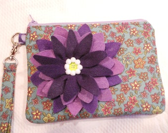 40% OFF SUMMER SALE...Wristlet/Carry-All - with Felt Flower Accent