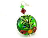 Christmas Necklace, Christmas Tree Necklace, Holiday Necklace, Lampwork Necklace, Green Necklace - O Christmas Tree