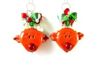 Red Nose Reindeer Earrings, Christmas Earrings, Reindeer Earrings, Holiday Earrings, Lampwork Earrings, Holiday Jewelry  - Red Nose Reindeer