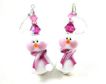 Snowman Earrings, Christmas Jewelry, Pink Earrings, Holiday Earrings, Christmas Earrings, Lampwork Earrings, Holiday Jewelry - Snow Lady