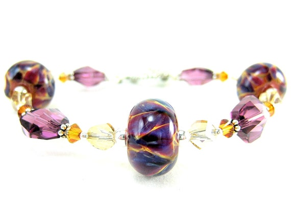 Purple Glass Bracelet, Boro Lampwork Bracelet, Autumn Bracelet, Beadwork Bracelet, Amethyst Magenta Bracelet, Beaded Bracelet  Wild Berry