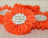 4 Orange Crepe Paper Flowers w/Vintage French Text Centers