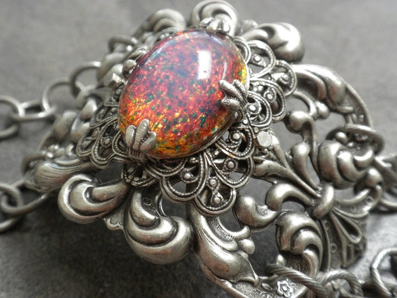 Silver Opal Bracelet October Birthday Victorian Gothic