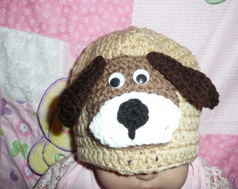 Puggy Dog Cap Baby Beanie in little brown with light brown Puppy Dog  size 2 - 4