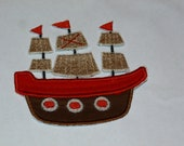 """Embroidered Iron On Applique """"Pirate Ship"""""""
