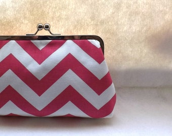 Pink and White Chevron Bridal Clutch / Pink Wedding Purse / Bridesmaids Gift - Charlie
