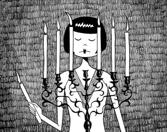 Eloise sets the mood  // Spooky candleabra black and white illustration // art print