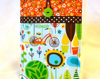 SALE KINDLE Fire Sleeve Ereader Cover Kindle Case Padded Case Spring Street Carolyn Gavin Bicycle Trees Mod Fabric Handmade
