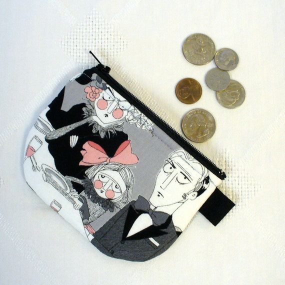 The Ghastlies Fabric Mini Coin Purse Zipper Change Purse Fabric Coin Wallet Halloween A Ghastlie Night Gray Grey